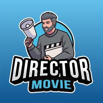 Modelo de logotipo de diretor de filme isolado em azul
