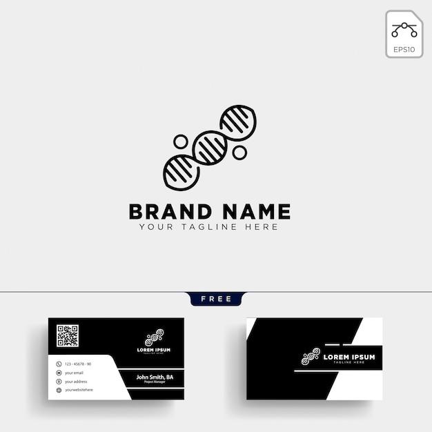 Modelo de logotipo de dna molecular e design de cartão de visita