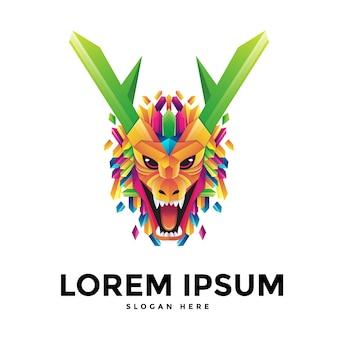 Modelo de logotipo de dragão colorido em design plano