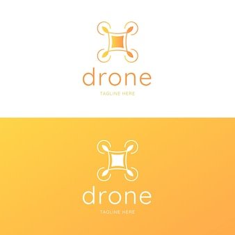 Modelo de logotipo de drone amarelo criativo