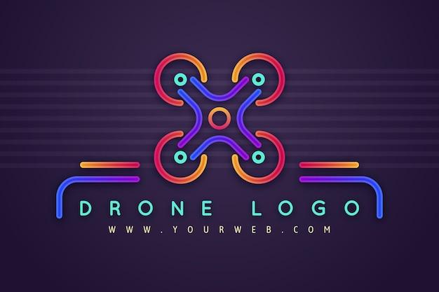 Modelo de logotipo de drone colorido
