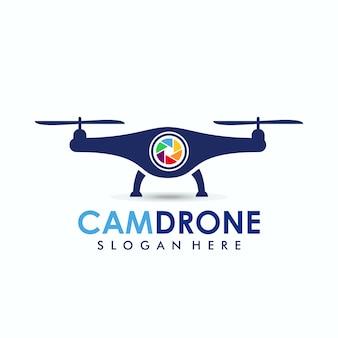 Modelo de logotipo de drone de câmera