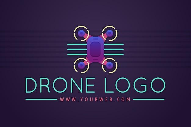 Modelo de logotipo de drone gradiente colorido