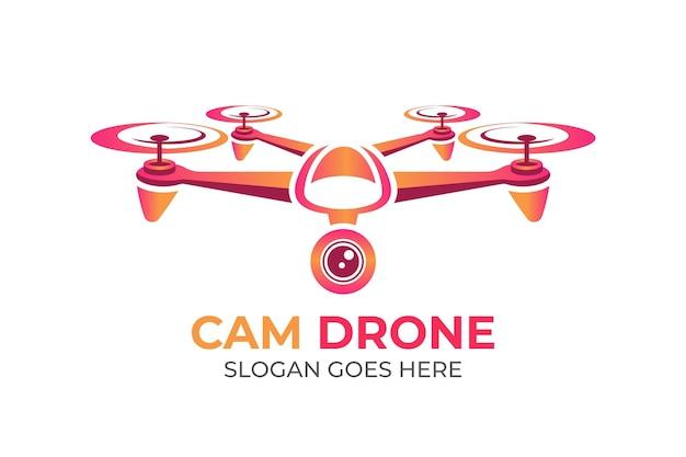 Modelo de logotipo de drone gradiente com slogan