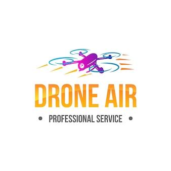 Modelo de logotipo de drone gradiente