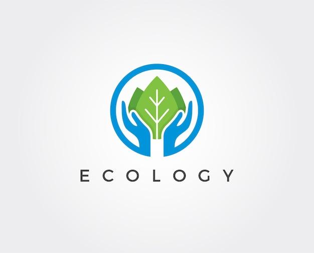 Modelo de logotipo de ecologia mínima