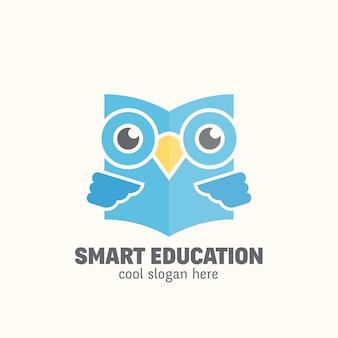 Modelo de logotipo de educação inteligente. emblema de aprendizagem.