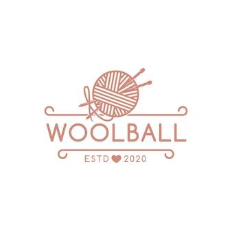 Modelo de logotipo de emblema de bola de lã