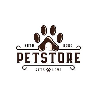 Modelo de logotipo de emblema de loja de animais