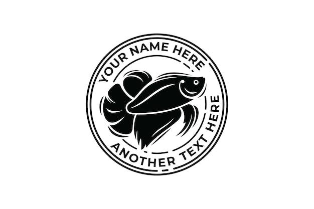 Modelo de logotipo de emblema de peixe betta