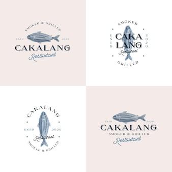 Modelo de logotipo de emblema vintage de peixe