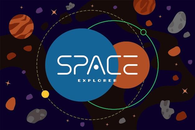 Modelo de logotipo de empresa de exploração de galáxias conceito de pôster explorador espacial no universo com