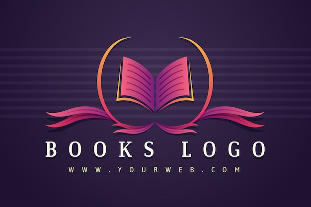 Modelo de logotipo de empresa de livro gradiente