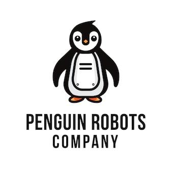 Modelo de logotipo de empresa de robôs pinguim