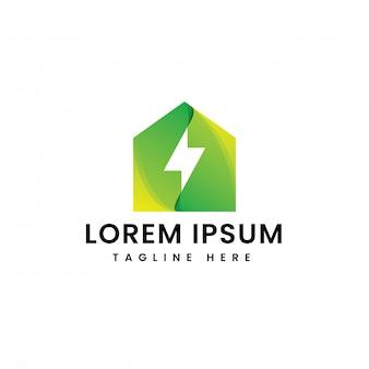 Modelo de logotipo de energia em casa