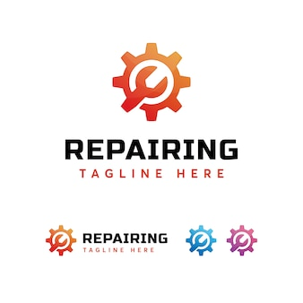 Modelo de logotipo de engrenagem de reparação