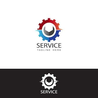 Modelo de logotipo de engrenagem de serviço