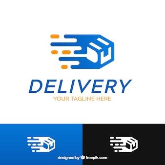 Modelo de logotipo de entrega azul e preto