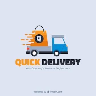 Modelo de logotipo de entrega com caminhão