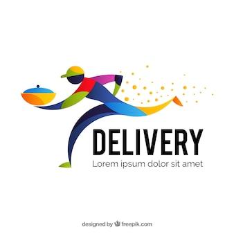 Modelo de logotipo de entrega com homem colorido
