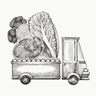 Modelo de logotipo de entrega de loja de comida. caminhão desenhado de mão com legumes e ilustração de carne. design de comida retrô estilo gravado.