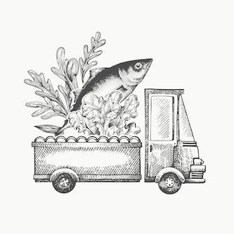 Modelo de logotipo de entrega de loja de comida. caminhão desenhado de mão com legumes e peixe ilustração. design de comida retrô estilo gravado.