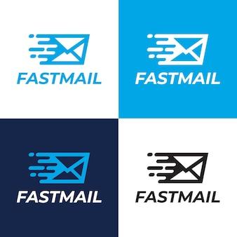 Modelo de logotipo de entrega rápida de correio