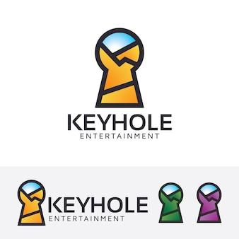 Modelo de logotipo de entretenimento com furos de fechadura