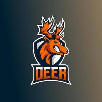 Modelo de logotipo de equipe de e-sports com deer