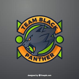Modelo de logotipo de equipe de esportes-e com pantera negra