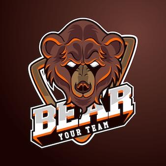 Modelo de logotipo de equipe de esportes eletrônicos com urso