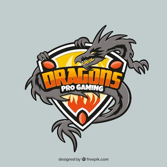 Modelo de logotipo de equipe e-esportes com dragão