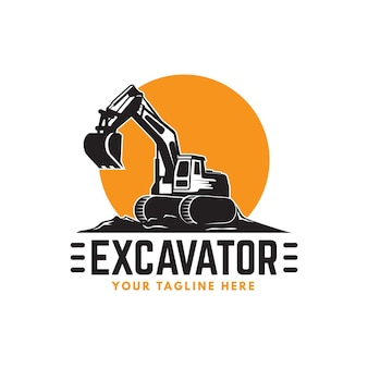 Modelo de logotipo de escavadeira e construção