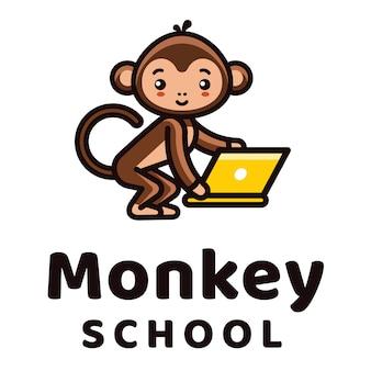 Modelo de logotipo de escola de macaco