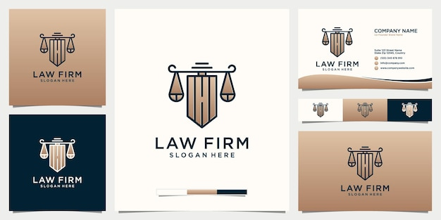 Modelo de logotipo de escritório de advocacia com cartão de visita