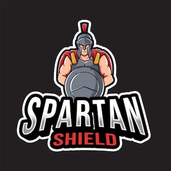 Modelo de logotipo de escudo espartano