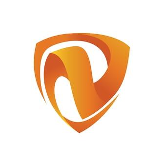 Modelo de logotipo de escudo letra n