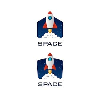 Modelo de logotipo de espaço de foguete