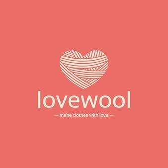 Modelo de logotipo de espaço negativo de coração de lã