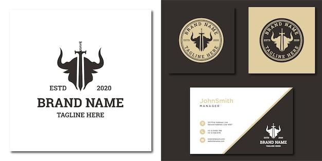 Modelo de logotipo de espada de touro