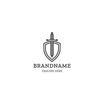 Modelo de logotipo de espada e escudo