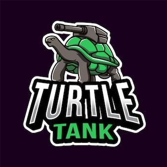 Modelo de logotipo de esport de guerra de tanque de tartaruga