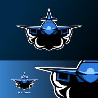 Modelo de logotipo de esport esporte de mascote de soldado de avião jato plano