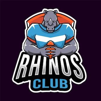 Modelo de logotipo de esporte de clube de rinocerontes