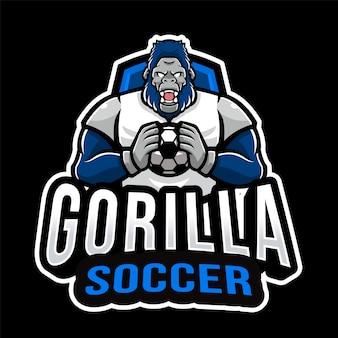 Modelo de logotipo de esporte de futebol gorila