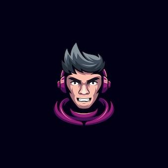 Modelo de logotipo de esporte de gamers de cabeça