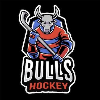 Modelo de logotipo de esporte de hóquei de touros
