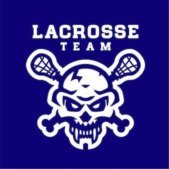 Modelo de logotipo de esporte de lacrosse caveira branca