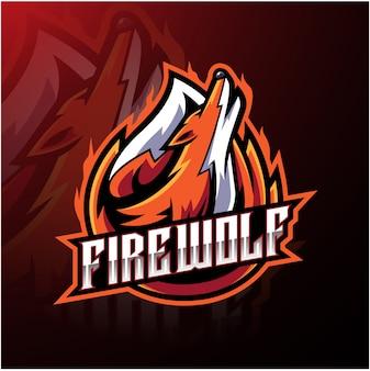 Modelo de logotipo de esporte de lobo de fogo