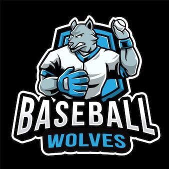 Modelo de logotipo de esporte de lobos de beisebol